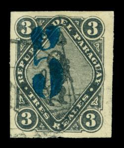 PARAGUAY  1878  LION &  CAP - BLUE SURCHARGE  5c /3r black Scott # 6 used VF - R