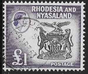 Rhodesia & Nyasaland 171 Used - Coat of Arms