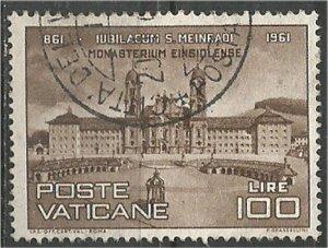 VATICAN CITY, 1961, used 100 l, Einsiedeln monastery Scott 300