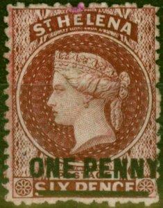 St Helena 1868 1d Lake SG7 Type B Fine & Fresh Mtd Mint