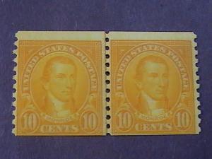 U.S.# 603-MINT/NEVER HINGED---JOINT LINE PAIR---ORANGE---MONROE---1924