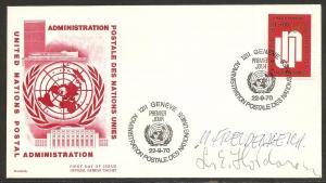 UN Geneva 7 1970 Geneva Cachet FDC SIGNED by stamps designer