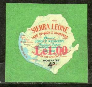 Sierra Leone 1964 Odd Shaped Map Overprinted Land of Iron & Diamonds Sc 298 M...