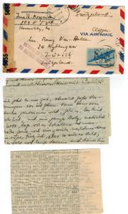 1943 Kansas City MO USA Censor Returned cover to Switzerland Clipper No Service