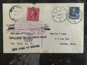 1931 Bergen Norway USA Hubert Wilkins Submarine North Pole Expedition Cover