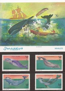 Somalia 1999 Whales 4 Stamp Set + Souvenir Sheet 27A-007