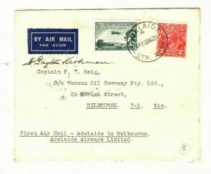 AUSTRALIA Air Mail Pilot Signed First Flight Adelaide Melbourne 1935 PA3