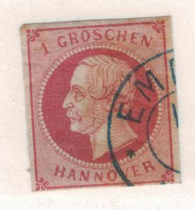 Hannover (German State) Stamp Scott #19, Used - Free U.S. Shipping, Free Worl...