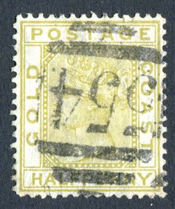 Gold Coast 1876 QV. 1/2d olive yellow. Used. Crown CC. SG4.