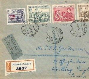 Czechoslovakia AIR SURCHARGE Cover *Lazne* 1952 CHILDREN'S DAY Set{samwells}BU69