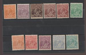 AUSTRALIA 1918 KGV SET 1/2D TO 1/4 SINGLE WMK */**