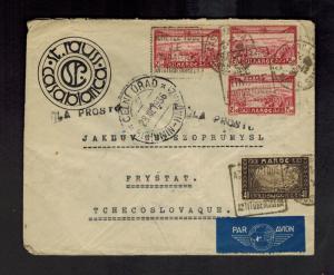 1936 Casablanca Morocco Airmail COver to Frystat Czechoslovakia