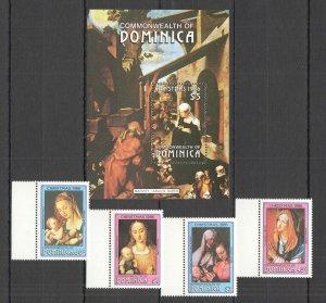QD0730 1986 DOMINICA ART CHRISTMAS 1986 DURER #993-96 MICHEL 23 EURO BL+SET MNH