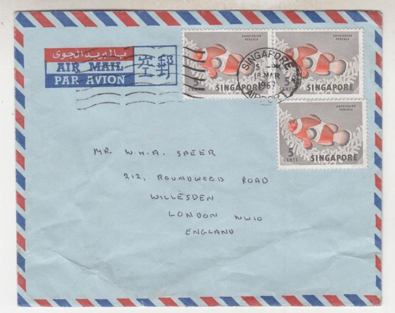 SINGAPORE, 1967 Airmail cover to GB, 5c. Fish (3)