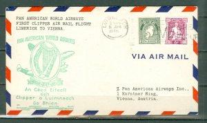 IRELAND 1946 CLIPPER FIRST FLIGHT AIR COVER TO AUSTRIA