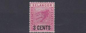 SELANGOR  1894  S G  53    3C  ON 5C  ROSE   MH