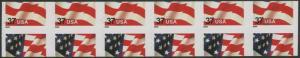 #3632 VAR. 37¢ FLAG STRIP OF 6 WITH MISCUT ERROR HV8769