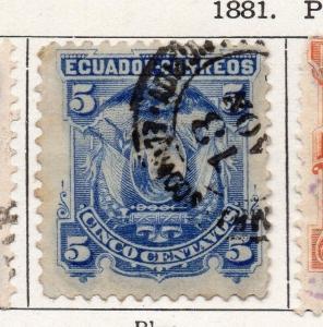 Ecuador 1881 Early Issue Fine Used 5c. 000085