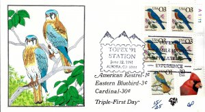 Rare Pugh Designed/Painted Eastern Bluebird w/Pl# FDC...15 of ONLY 25 created!