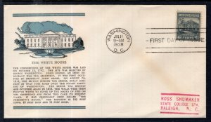 US 809 White House Linprint Typed FDC
