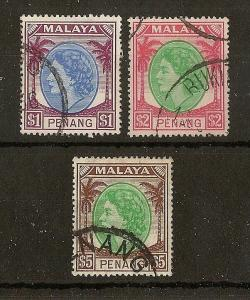 Penang 1957 High Values SG52-54 Fine Used Cat£37