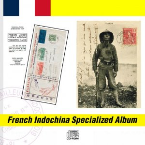 FRENCH INDOCHINA SPECIALIZED PDF STAMP ALBUM + POSTAL CATALOGUE CD (3400+ pgs)