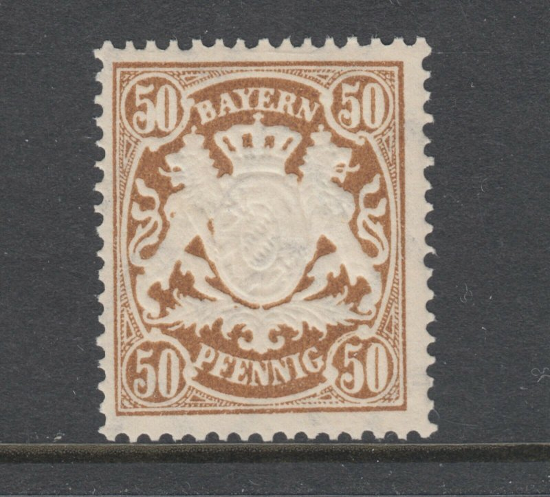 Bavaria Sc 69 MNH. 1888 50pf deep brown Coat of Arms, F-VF