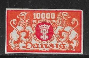 Danzig #123 10,000m orange & red imperf  (MLH) CV$25.00