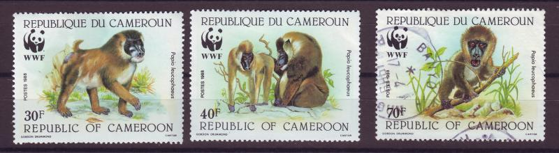 J14388 JLstamps 1988 cameroun part of set 2 mh, 1 used #844-6 WWF baboons