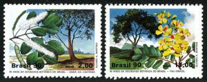 Brazil MNH 2229-30 Botanical Society Flowering Trees 1990 SCV 1.85