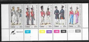 South  Africa -Ciskei #63 20c Uniforms strip of 5 (MNH) CV $2.25