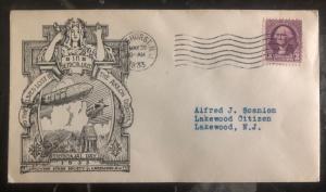 1933 Lake Hurst NJ USA Cover Memory Of USS Akron Disaster Zeppelin ZRS-5