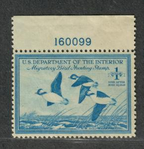 US Sc#RW15 M/NH/F-VF, Plate # Single, Duck Stamp, Cv. $60