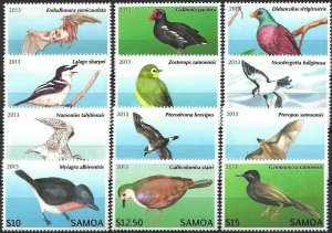 2013 Samoa Definitives, Birds, complete set VFMNH! CAT 52$ LOOK!