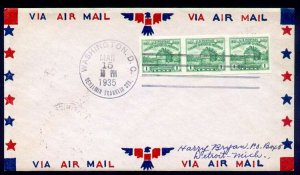 US #766a FIRST DAY COVER, Colorful airmail cover with the RARE REPRINT, Strip...