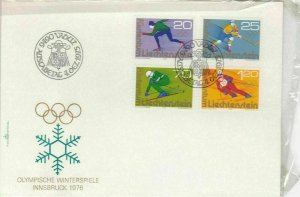 Liechtenstein 1975 Winter Olympics Slogan Cancels Sports Stamps FDC Cover  30031