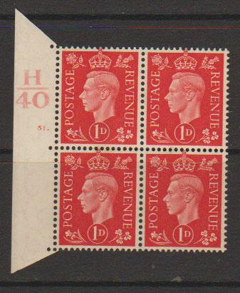 GB George VI  SG 463 Control H40 Cyl 51 Dot