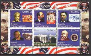 Turkmenistan 2000 US Presidents #03 perf sheet of 6 unmou...
