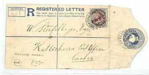 INDIA Calcutta Dharmatala REGISTERED Stationery Charge{samwells-covers}1895 CW92