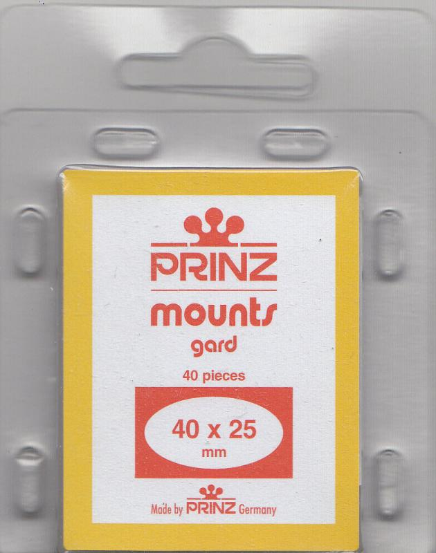 PRINZ CLEAR MOUNTS 40X25 (40) RETAIL PRICE $3.99