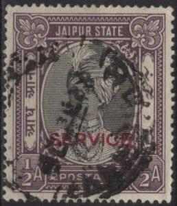 India: Jaipur O13 (used) ½a Raja Man Singh II, dull vio & black (1931)