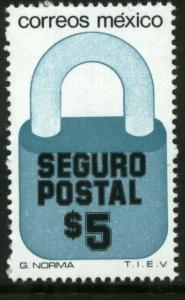 MEXICO G27 $5P Padlock Insured Letter Unwmk Fluor Paper 5