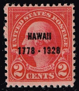US STAMP #647 – 1928 2c Discovery of Hawaii,  mh/og stamp