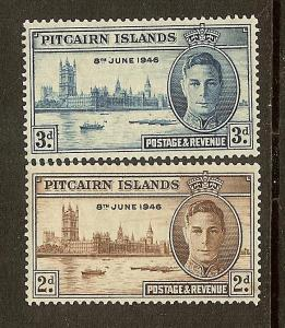 Pitcairn Isl, Scott #'s 9-10, KGVI Peace Issues, MLH