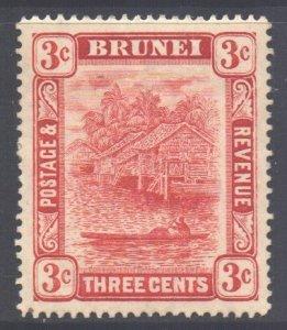 Brunei Scott 18a - SG38, 1908 Brunei River 3c Plate II MH*
