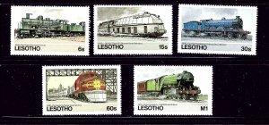 Lesotho 453-57 MNH 1984 Locomotives   #2