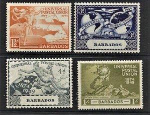 STAMP STATION PERTH  Barbados #212-215 UPU Set - MLH- CV$6.00