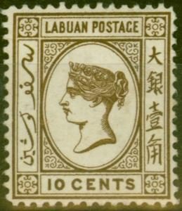 Labuan 1892 10c Brown SG43d Stolen Jewel Fine & Fresh Unused