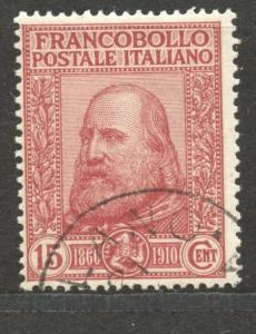 Italy,  1910 Garibaldi, 10 C., VF ++ used, Scott # 116