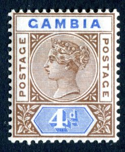Gambia 1898 QV. 4d brown & blue. Mint Hinged. SG42.